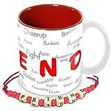 Tuelip Friend Pattern Mug With Free Friendship Band For Tea And Coffee 350 Ml Ceramic Printed Mug