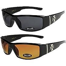 Choppers - Lot de 2 paires de lunettes de soleil dans les coloris noir  anthracite argent 63825eef41e5