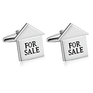Daesar Männer Manschettenknopf Hemd Haus mit Gravur for Sale Sold Edelstahl Manschettenknöpfe für Herren Silber mit Geschenkbox