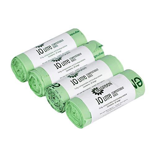All-Green 10 Liter kompostierbarer BioBag Küchenmüllsack, 100 Müllsäcke