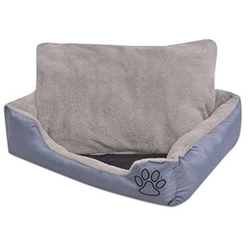 vidaXL Hundebett mit gepolstertem Kissen Hundekorb Hundeliege Bett Größe L Grau