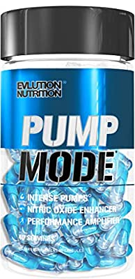 Evlution Nutrition Pump Mode Nitric Oxide Booster to Support Intense Pumps, Performance and Vascularity, 40 Serving Capsules by Evlution