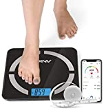 Anko Bluetooth Smart Body Fat Scale -8 Essential Body Composition Analyser, Auto Recognition, Track & Record Data up to 8 Users via Android & iOS App - Included Free BMI Tape