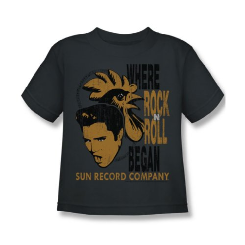 Sun Records - Elvis & Rooster Juvy T-Shirt in der Holzkohle, Large (7), Charcoal