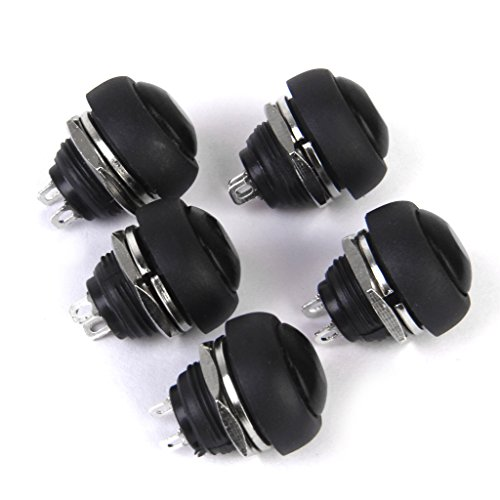 Sharplace 5pcs Bouton-Poussoir Momentané Interrupteur de Klaxon Noir pour Sonnette Bateau Voiture Etanche