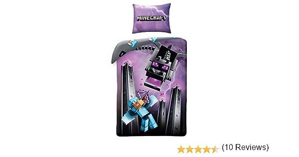 MNC130 Multicolor 140x200centimeter Halantex Minecraft Chevalier De Diamant avec Archet Contre Dragon Housse de Couette Original Taie Original Bed Set 100/% Coton
