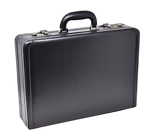 Attache Aktenkoffer Executive Business Bag Arbeit Leder Optik Zahlenschloss hol3296schwarz (Attache Executive Aktenkoffer)