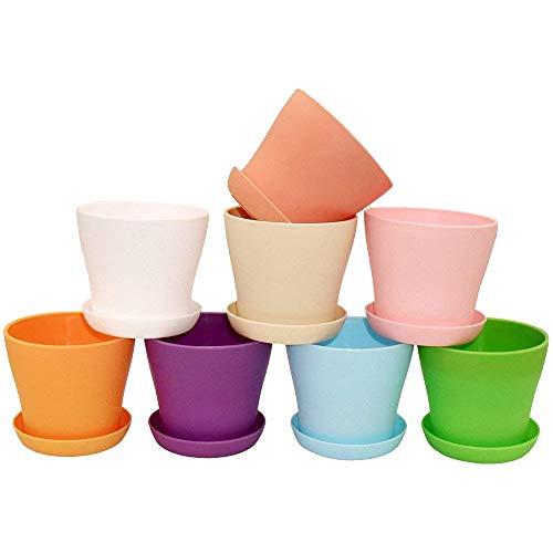 8 Stück Plastik Runde Blumen Pflanze Töpfe Mit Palette 8 Farben für Sämlinge Nursery Fleisch Pflanzen und Andere Kleine Pflanzen