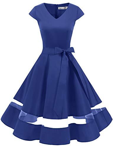 tage Retro Cocktailkleid Cap Sleeves Rockabilly Kleider Damen Schwingen Petticoat Faltenrock Royal Blue L ()