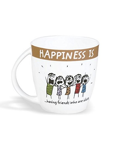 Clay Craft - Happiness Is, Having Friends Bone China Milk Mug, 270ml/5.6cm, Multicolour