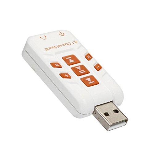 kingko® Externe USB2.0 Soundkarte Audio Sound Mic 8.1 3D Surround Adapter Mit der modernsten Technologie von Xear 3D (Weiß) - 2