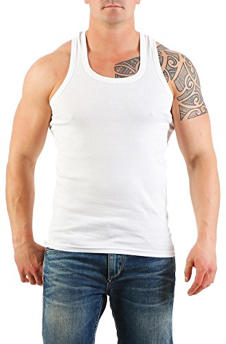 2er Pack Herren Tank Top Unterhemd Muskelshirt Ramboshirt Nr. 452 ( Weiß-Weiß / XL ) - 2