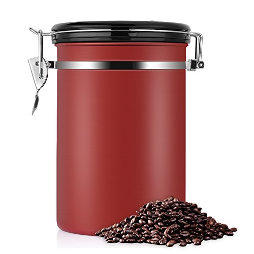 eecoo Kaffeedose, Kaffeedose Luftdicht, Kaffeedose Edelstahl, Kaffeebehälter Luftdichte Aromadose Vorratsdose Edelstahldose Vakuum Dose für Kaffeebohnen, Pulver, Tee, Nüsse, Kakao(Rot, 1.8 Liter)