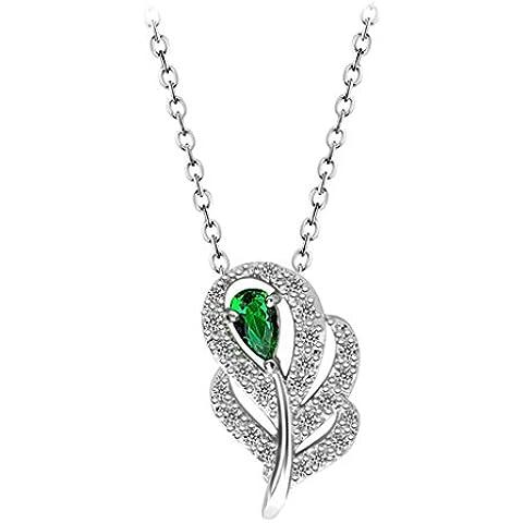 AienidD Cristales Regalos de Navidad-Collar Mujer Joven Hoja 3-Garras CZ Oval Enlace 10,5 x19,5 mm Cuellos Dijes para las Mujeres