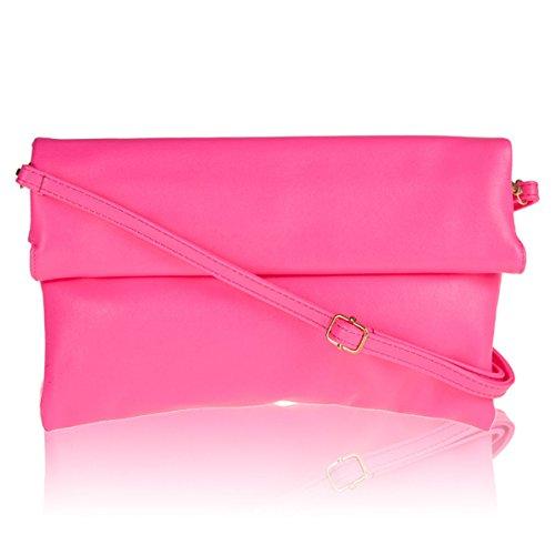 xardi London in finta pelle Donna Foldover Frizione Designer Donna Sera Borsa A Tracolla Nuovo Neon Pink