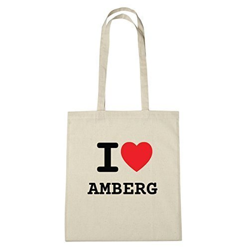 JOllify Amberg Borsa di cotone B1155 schwarz: New York, London, Paris, Tokyo natur: I love - Ich liebe