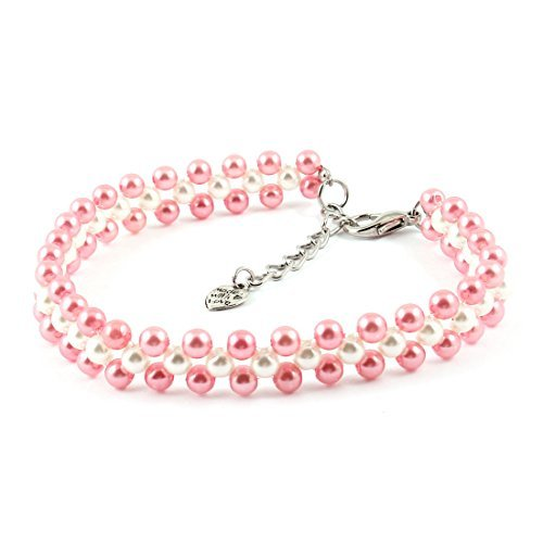 Drei Reihen Perlen verlinkten Hund Yorkie-Kragen-Halskette L Rosa Weiß (Yorkie-perle)