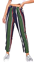 X-Future Womens Casual Drawstring Elastic Waist Color Block Stripes Pant Trouser 1 XS