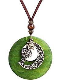 e0d0c8263611 Fengteng Groß Vintage Mond Stern Herz Anhänger Lederkette Rundform Grün Halbmond  Sterne Halsschmuck Damen und Herren Halskette…