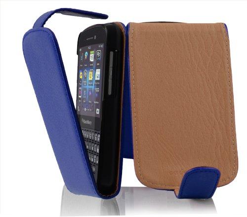 Cadorabo Hülle für BlackBerry Q10 - Hülle in KÖNIGS BLAU - Handyhülle aus Strukturiertem Kunstleder im Flip Design - Case Cover Schutzhülle Etui Tasche