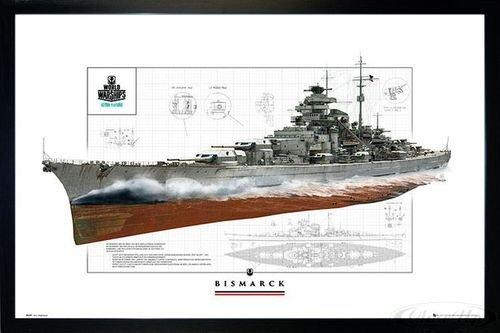 Close Up World of Warships Poster Schlachtschiff Bismarck (96,5x66 cm) gerahmt in: Rahmen schwarz