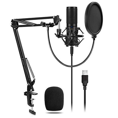 TONOR Microphone à Condensateur USB Enregistrement pour Ordinateur de Bureau et Ordinateur Portable...