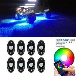 Tradico® TradicoBrand New 8pc Car Wireless RGB Cree LED Rock Light Bulb Kit Bluetooth & Cell Phone Control