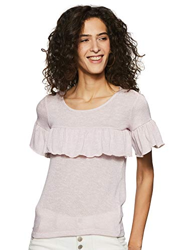 Honey by Pantaloons Women's Tunic Plain Regular Fit Top (110044267_Light Peach_Small)