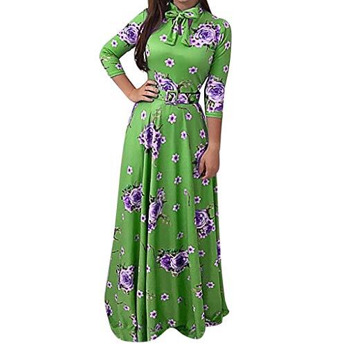Gebrochen Blumen Böhmen Druck Mit Langen Ärmeln Kleid Bluse Damen Tshirt Kleid Rundhals Minikleid Kleider Langes Shirt Lose Tunika ()