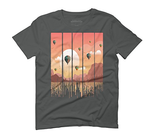 Grunge Dripping Sunset Celebration Men's Graphic T-Shirt - Design By Humans Anthracite