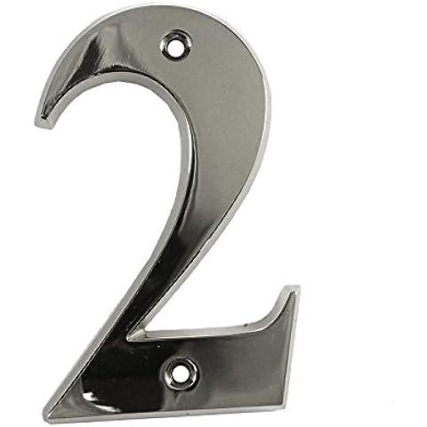 Beautiful 3inch bordo smussato lucido cromato–Numero 2–Vite porta anteriore numero civico