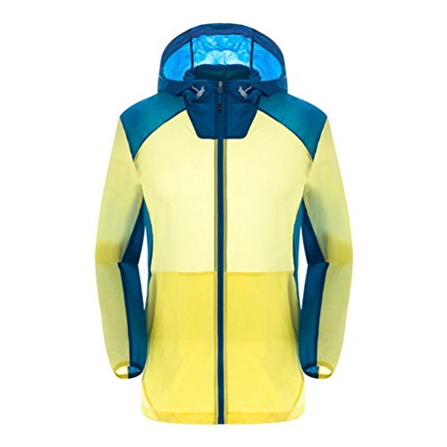 Zhuhaitf Beiläufig Style Mens Slim Thin Sports Jackets Waterproof Jackets Hooded Quick Drying Yellow