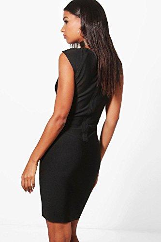 Damen Schwarz Boutique Kiki Bodyconkleid Mit Goldener Applikation Schwarz