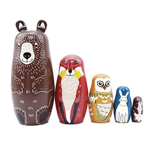 VWH 5 Stück Cartoon Braunbär Fuchs Eule Kaninchen Waschbär Verschachtelung Puppe aus Holz Matryoshka russische Puppe handgemachte Stapeln Spielzeug-Set (Verschachtelungs-puppen)