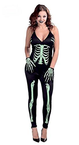 Karneval Klamotten fluoreszierendes Skelett-Kostüm Damen Halloween Overall Damenkostüm leuchtend Größe 38/40 (Baby Skelett-kostüm Für)