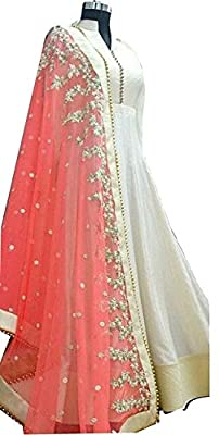 Attire Design Women's White-Pink Banglori With Net Anarkali Style gown Lengha choli - Off-White alterable upto size 42