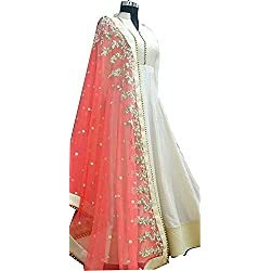 Attire Design Women's White-Pink Banglori With Net Anarkali Style gown Lengha choli