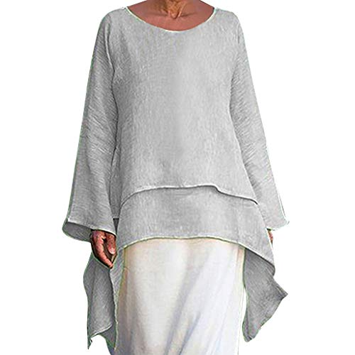 XNBZW Tops Women Tunic Lagenlook Solid Pocket Short Sleeve Top Plus Size Shirt Long Blouse Oversized Fashion Plus Size Irregular Casual Linen Crew Neck Blouse Embellished Sundress