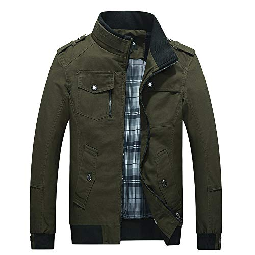 KPILP Herrenjacke, Windbreaker Warm Dick Übergröße Der Umsatz Mantel Fleecejacken Outwear Slim Long Trench Reißverschluss Mantel Winter Herbst(F-armeegrün,EU-62/CN-4XL)