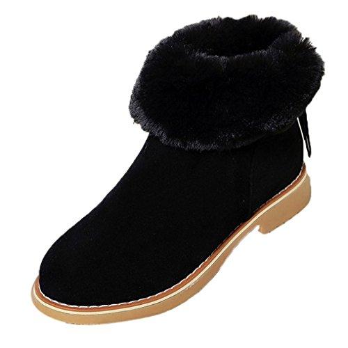 Pu Knee Boot (FEITONG Frauen Stiefel Damen Boots Winter Freizeit Wasserdicht Schuhe Anti-Slip Plüsch Stiefeletten Warm Reißverschluss Schuhe (CN:38=EU:37, Schwarz))