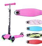BOLDCUBE Dreirad Roller mit PU LED Räder - ab etwa 5 Jahre, bis 80KG Gewicht - 4 Stufen Einstellbare Höhe - faltbar - der sichere Premium Kinder Roller - TÜV geprüft Kickboard Tretroller (Rosa)