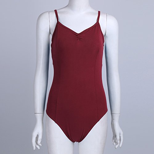 YiZYiF Damen Body Sportbody Fitness Ballett Trikot Ballettanzug Tanz-Body Gymnastik Leotard Tops mit Spaghettiträgern Burgundy