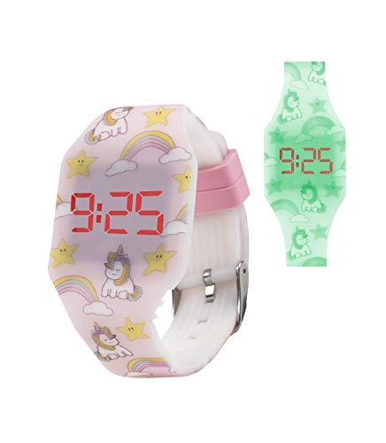 Kiddus Reloj LED Digital con Efecto Fluorescente. Se Ilumina en la Oscuridad. para Niños, Niñas, Infantil, Jóvenes. Brazalete de Suave Silicona. Regalo de Moda y Divertido