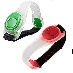 2pcs / pack KEKU Bras léger lumineux LED, Silicone réfléchissant Running Gear, Bracelet LED Glow dans le Dark - bande de slap de sécurité pour le vélo Runing, jogging haute visibilité. (Vert)