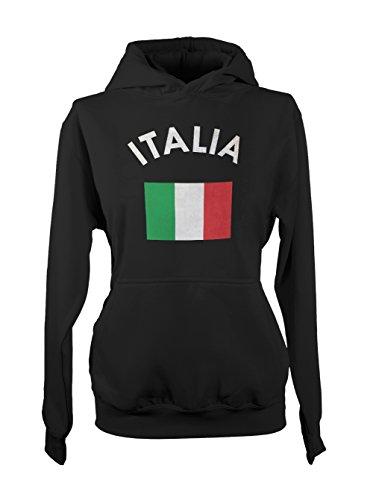 Italia Italy Italian Flag Femme Capuche Sweatshirt Noir