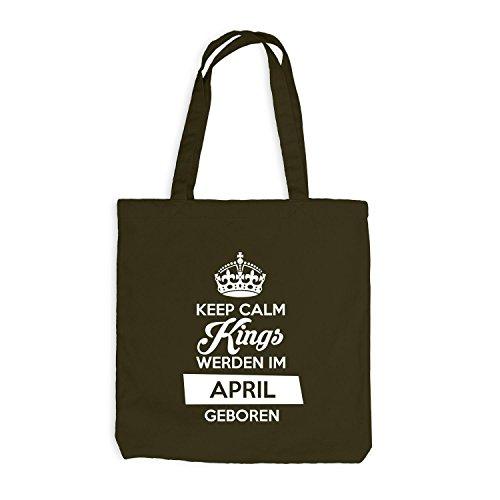 Jutebeutel - Keep Calm Kings werden im April geboren - Birthday Geburtstag Olive