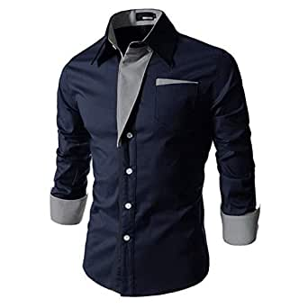 IndoPrimo Men's Cotton Casual Shirt for Men Full Sleeves (Navy Blue, Small)