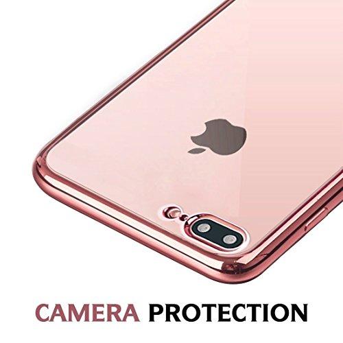 Coque iPhone 8 Plus silicone, Orlegol Crystal Housse iPhone 8 Plus/iPhone 7 Plus Coque Etui Housse de protection souple anti choc Gel TPU Bumper Cover pour iPhone 7 Plus/iPhone 8 Plus Case - Clear Rose