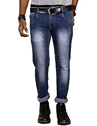 Jugend Light Blue Light Distressed Stretchable Regular Fit Jeans For Men