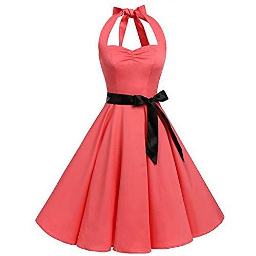 VEMOW Elegante Damen Damen Vintage Bodycon Sleeveless Halter beiläufige Tanzabend Party Prom Brautjungfern Swing Dress Faltenrock Cocktailkleid(X4-Rosa, EU-40/CN-L)